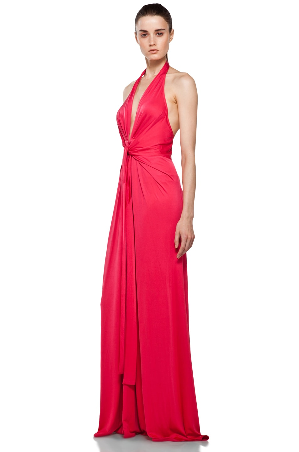 Image 2 of Issa Halter Maxi Dress in Pomegranate