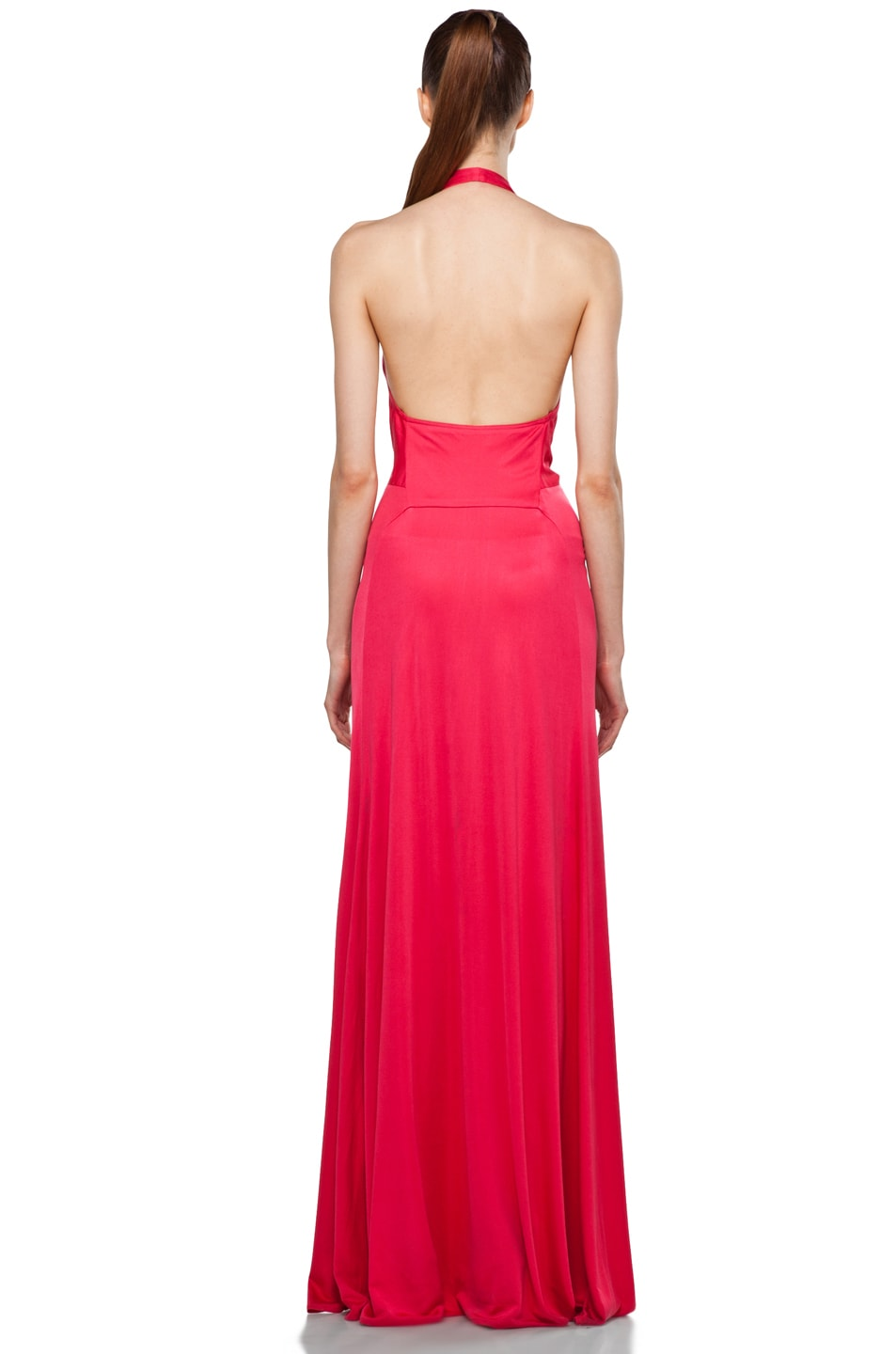 Image 4 of Issa Halter Maxi Dress in Pomegranate