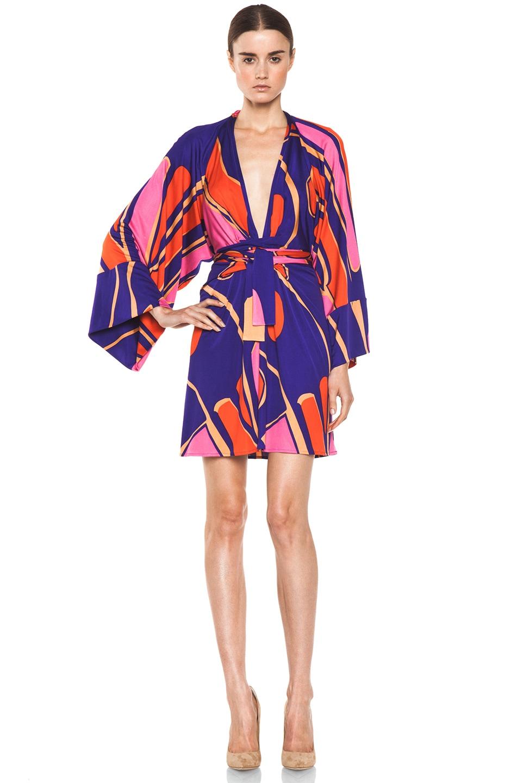 Image 1 of Issa Silk Printed Kimono in Indigo Multi