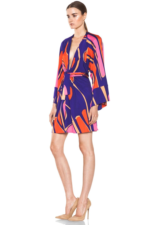 Image 2 of Issa Silk Printed Kimono in Indigo Multi