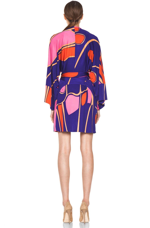 Image 4 of Issa Silk Printed Kimono in Indigo Multi