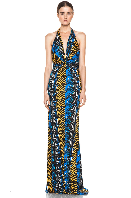 Image 1 of Issa Printed Halter Maxi Dress in Denim Multi
