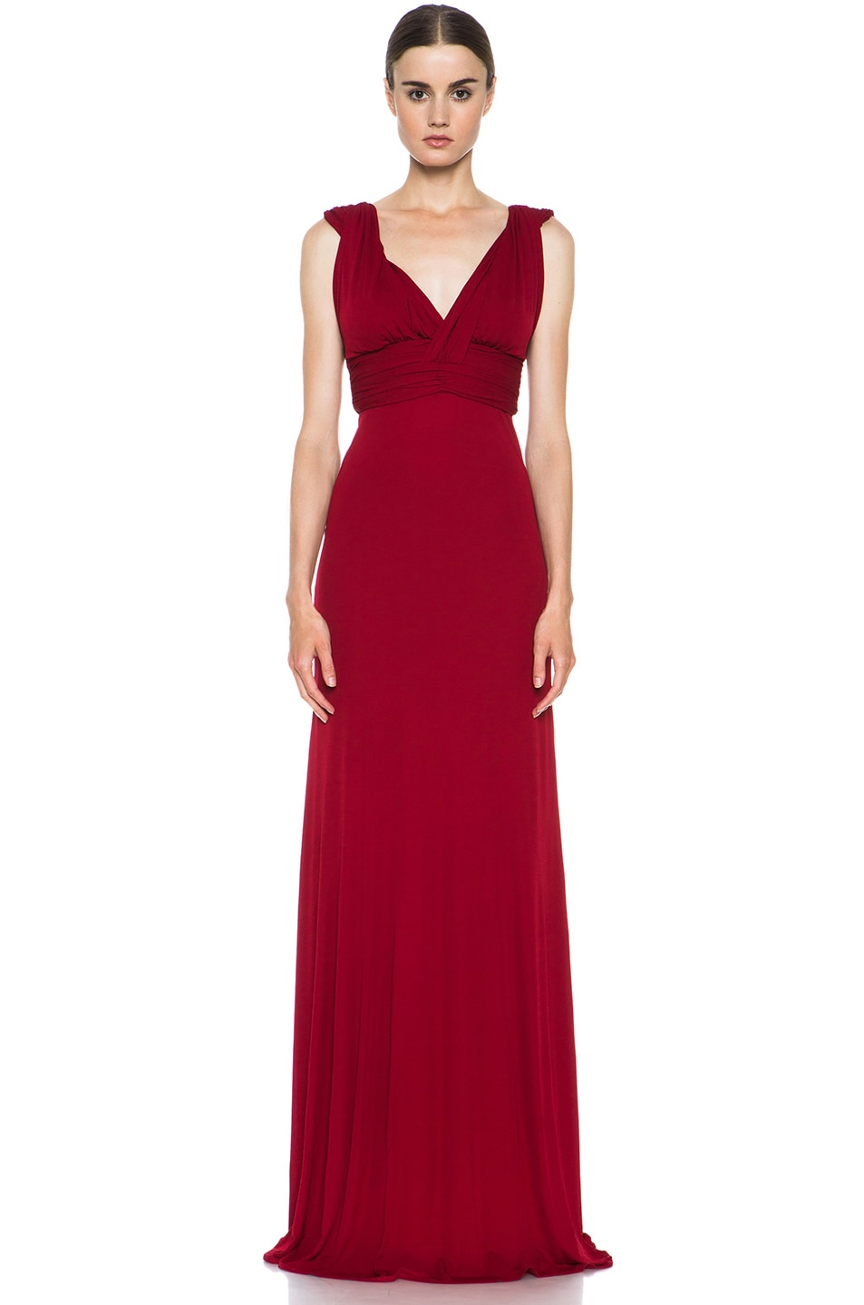 Image 1 of Issa Deep V Gown in Bordeaux