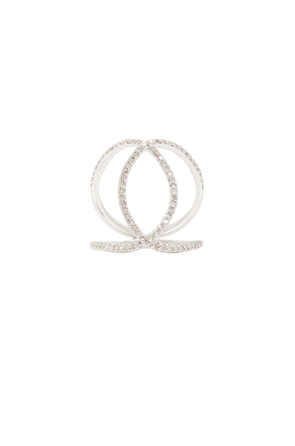 Image 1 of Jacquie Aiche 14K Pave Overlap Circle Ring in White Gold