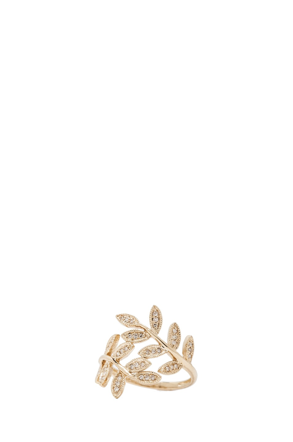 Image 1 of Jacquie Aiche 14K Pave Leaves Wrap Ring in Yellow Gold