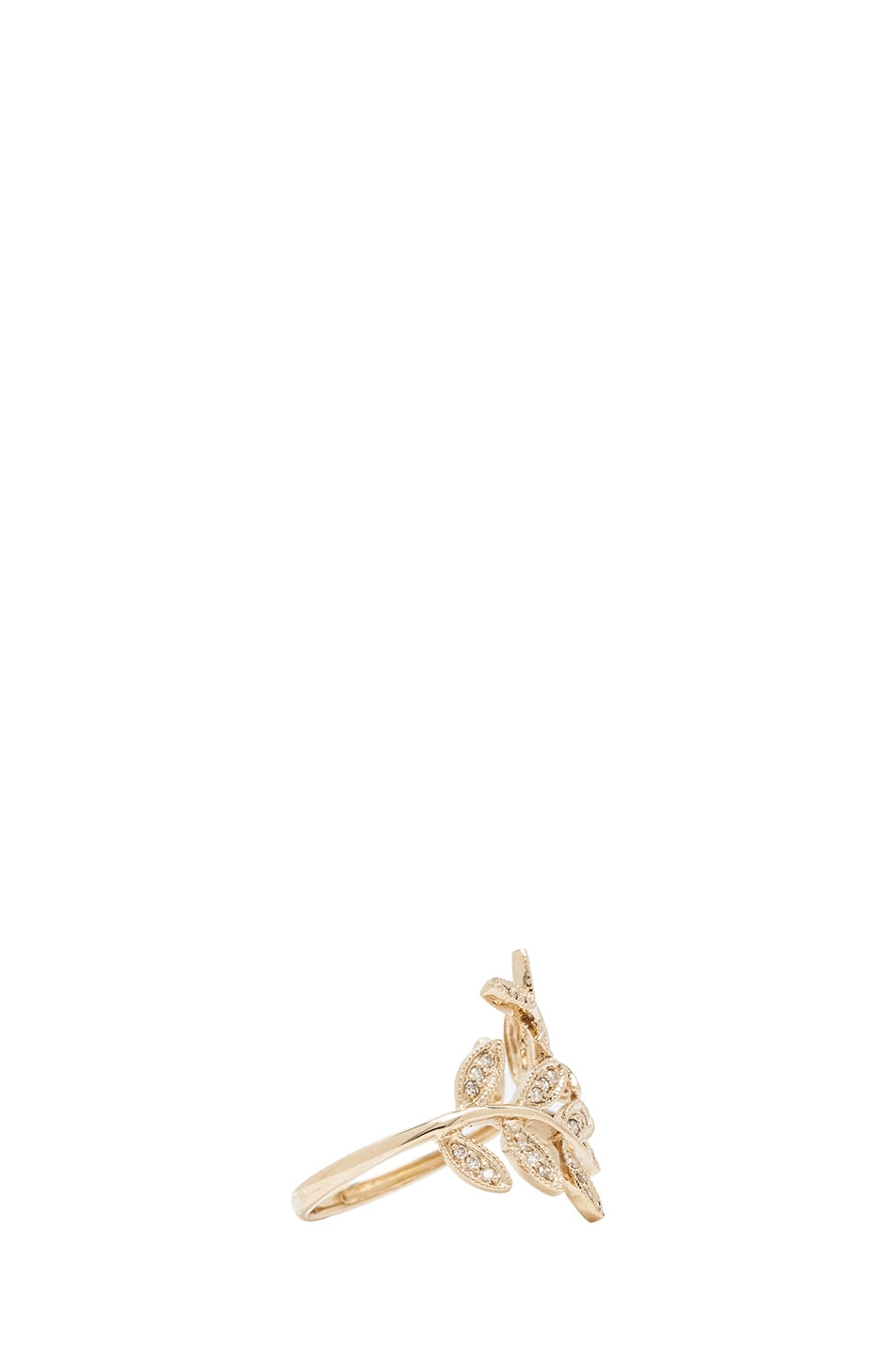 Image 2 of Jacquie Aiche 14K Pave Leaves Wrap Ring in Yellow Gold