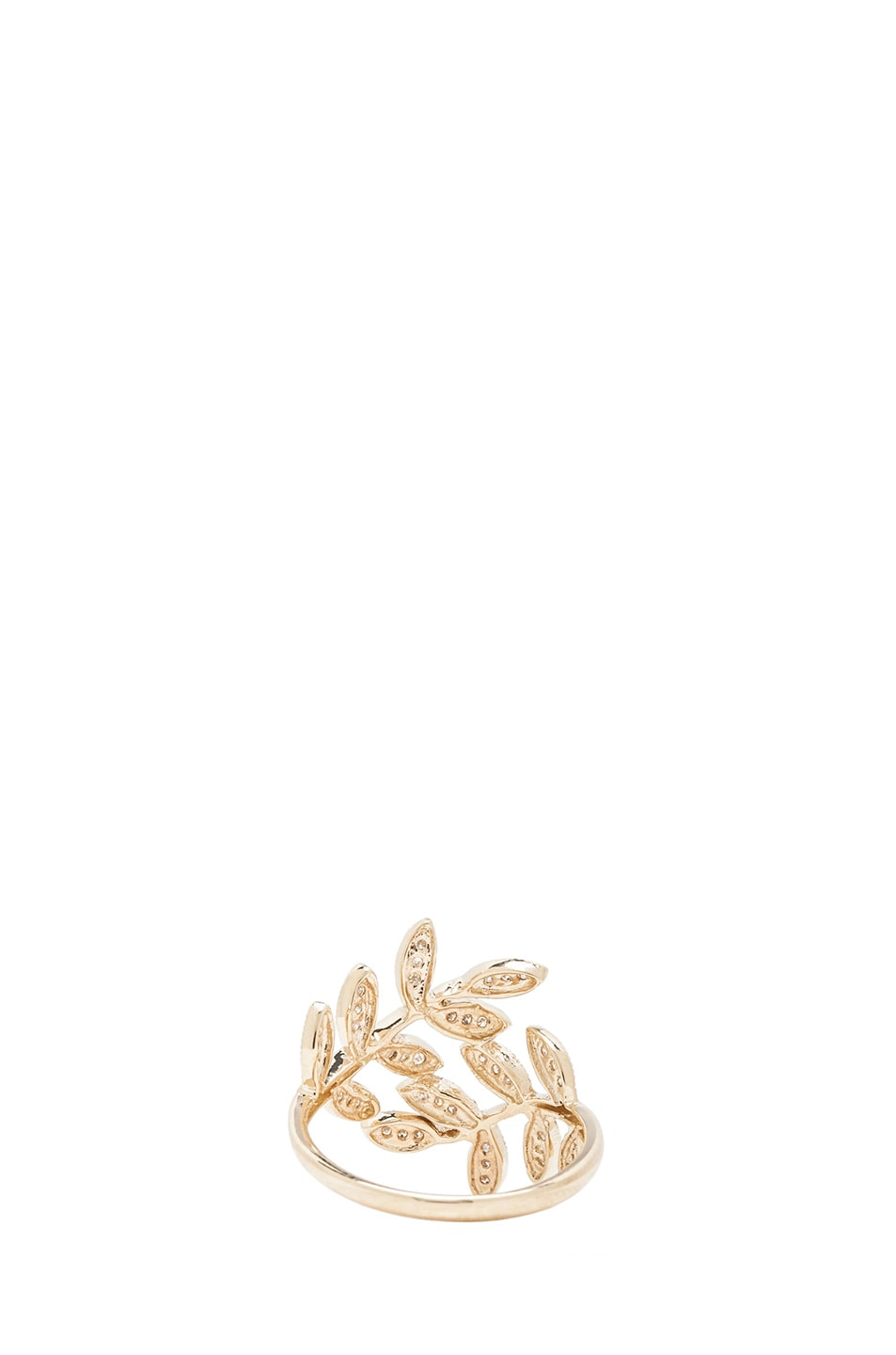 Image 3 of Jacquie Aiche 14K Pave Leaves Wrap Ring in Yellow Gold