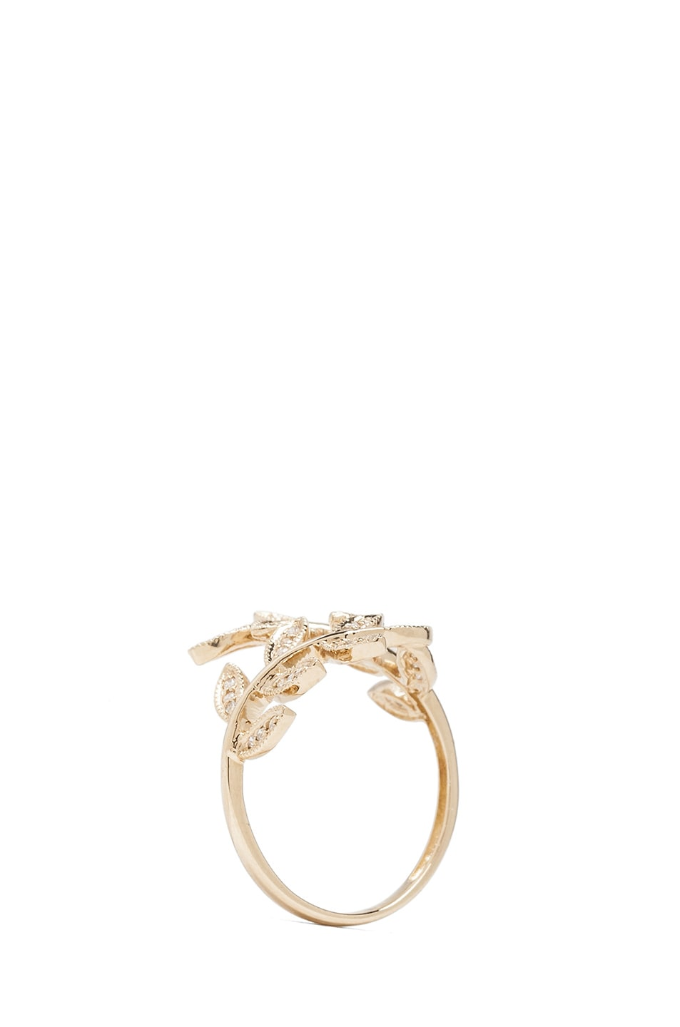 Image 4 of Jacquie Aiche 14K Pave Leaves Wrap Ring in Yellow Gold