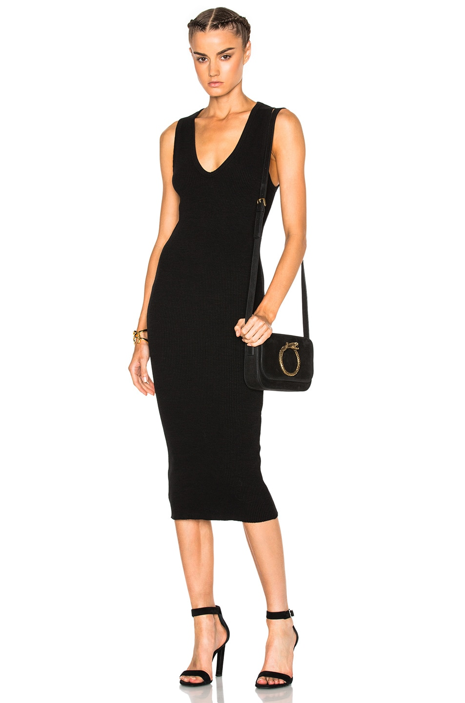 Image 1 of James Perse Heavy Rib V-Neck Dress in Black