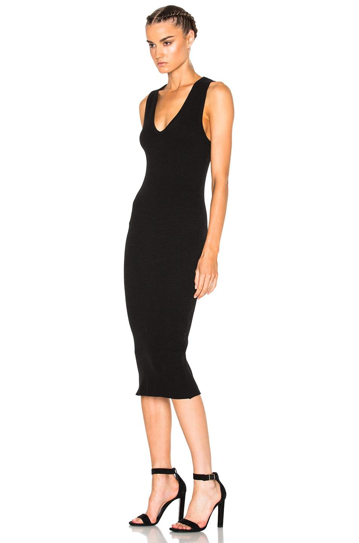 Image 2 of James Perse Heavy Rib V-Neck Dress in Black
