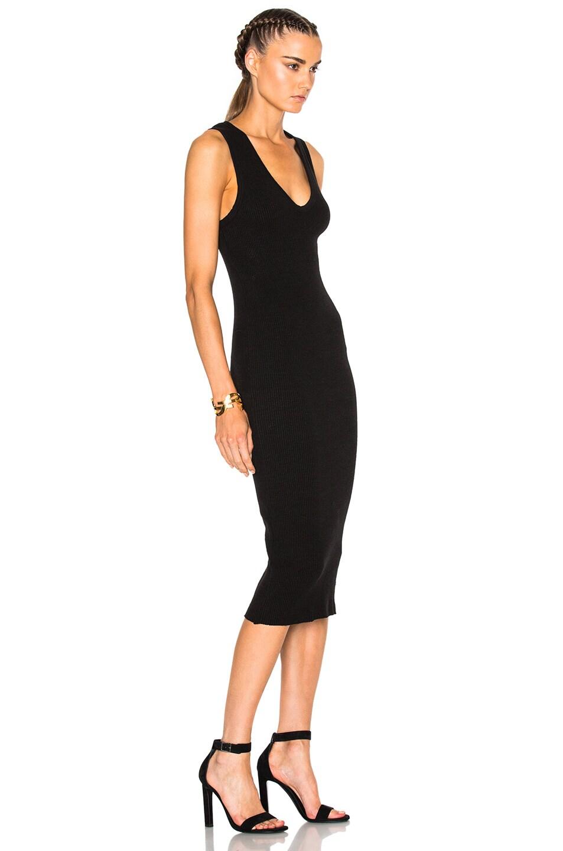 Image 3 of James Perse Heavy Rib V-Neck Dress in Black