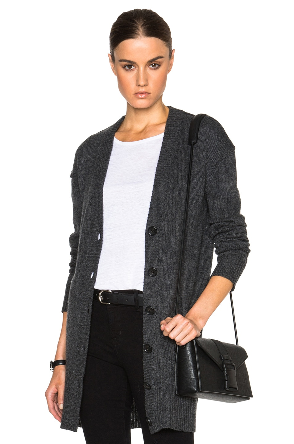 James Perse Cashmere V Neck Cardigan in Charcoal | FWRD