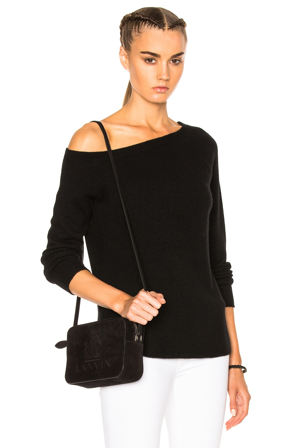 b52502aa06 Image 1 of James Perse Off Shoulder Cashmere Sweater in Black