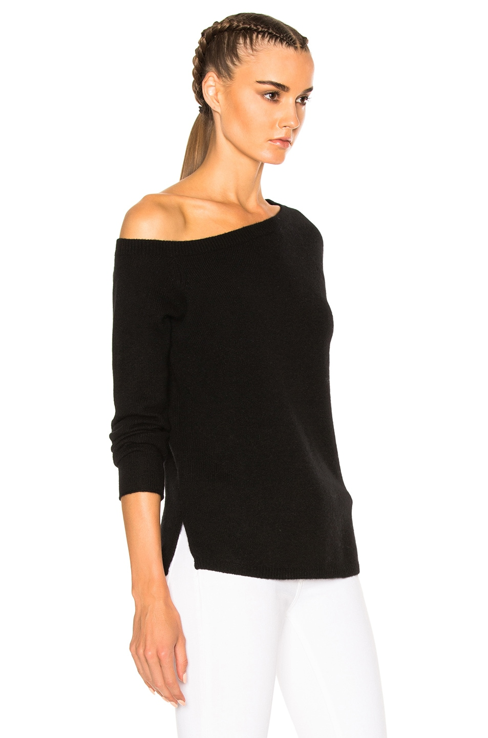 James Perse Off Shoulder Cashmere Sweater in Black | FWRD