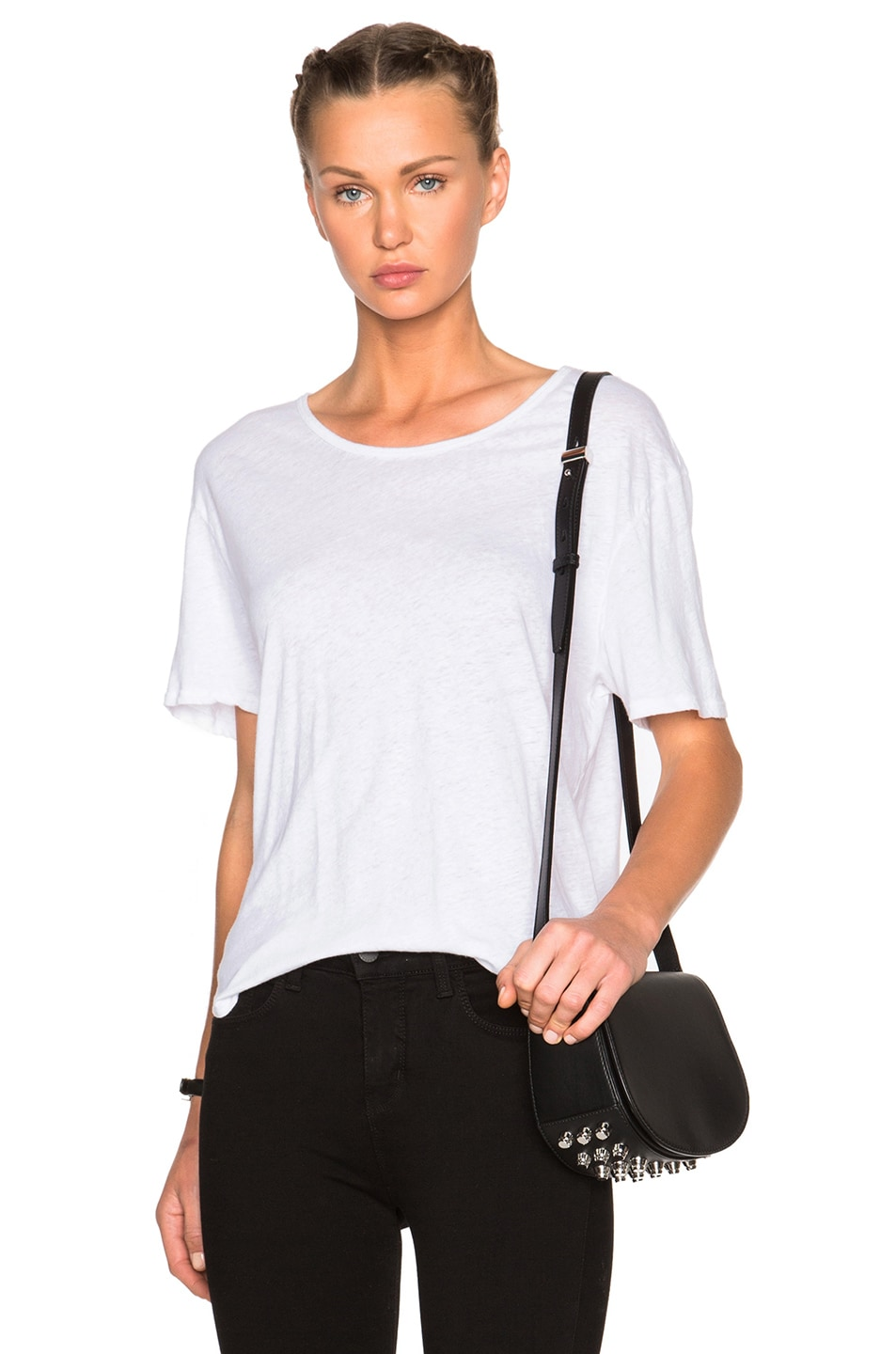 Image 1 of James Perse Relaxed Linen Jersey Tee in White