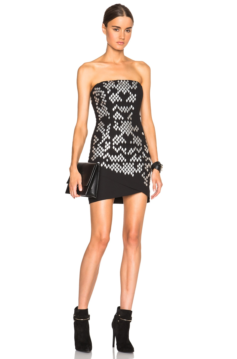 Image 1 of Jay Ahr Strapless Lazer Cut Dress in Black & Silver