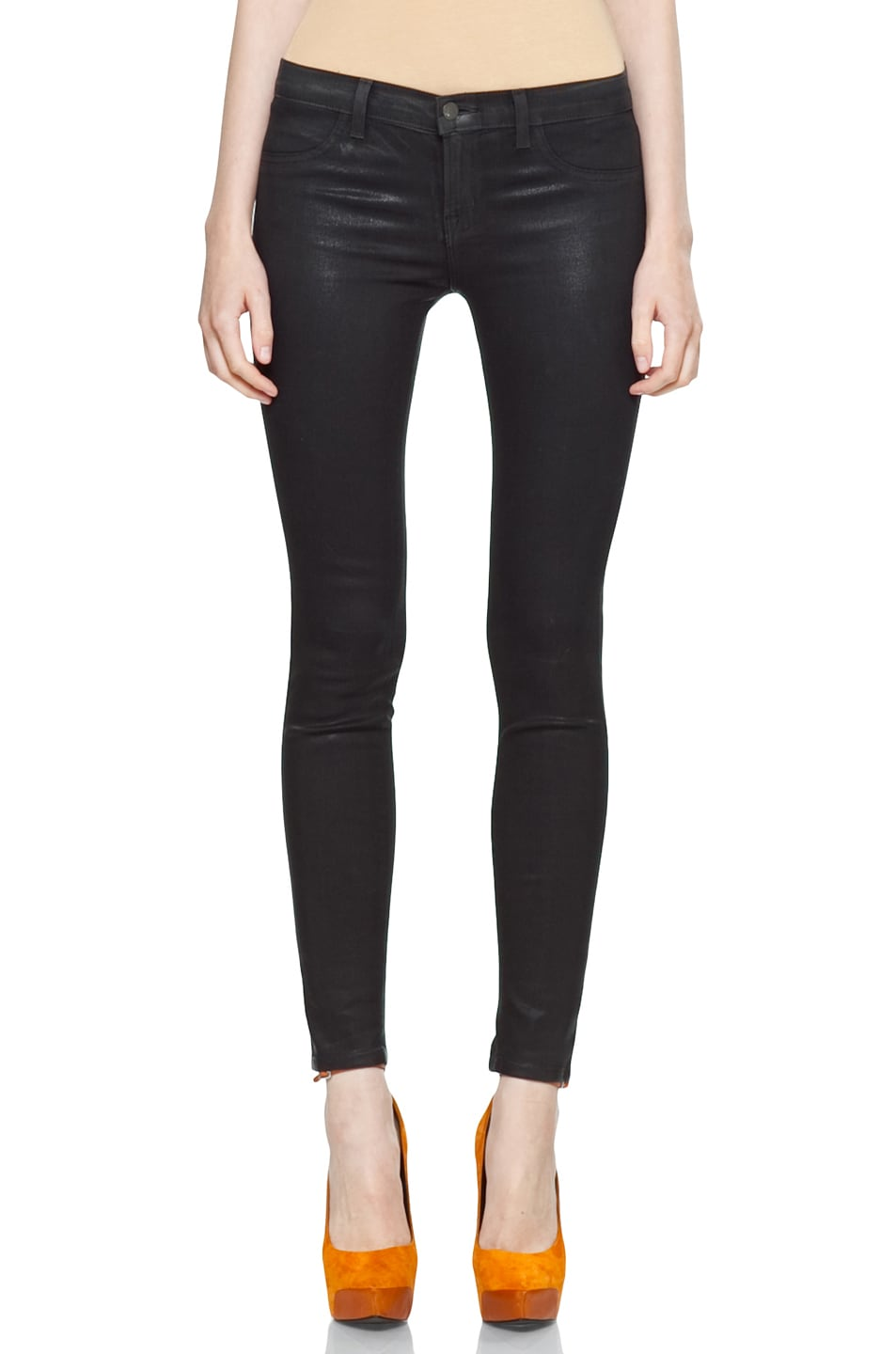Image 1 of J Brand Coated Denim Skinny in Coated Stealth