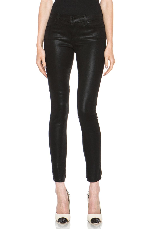 Image 1 of J Brand Mid-Rise Coated Super Skinny Jean in Black Quartz