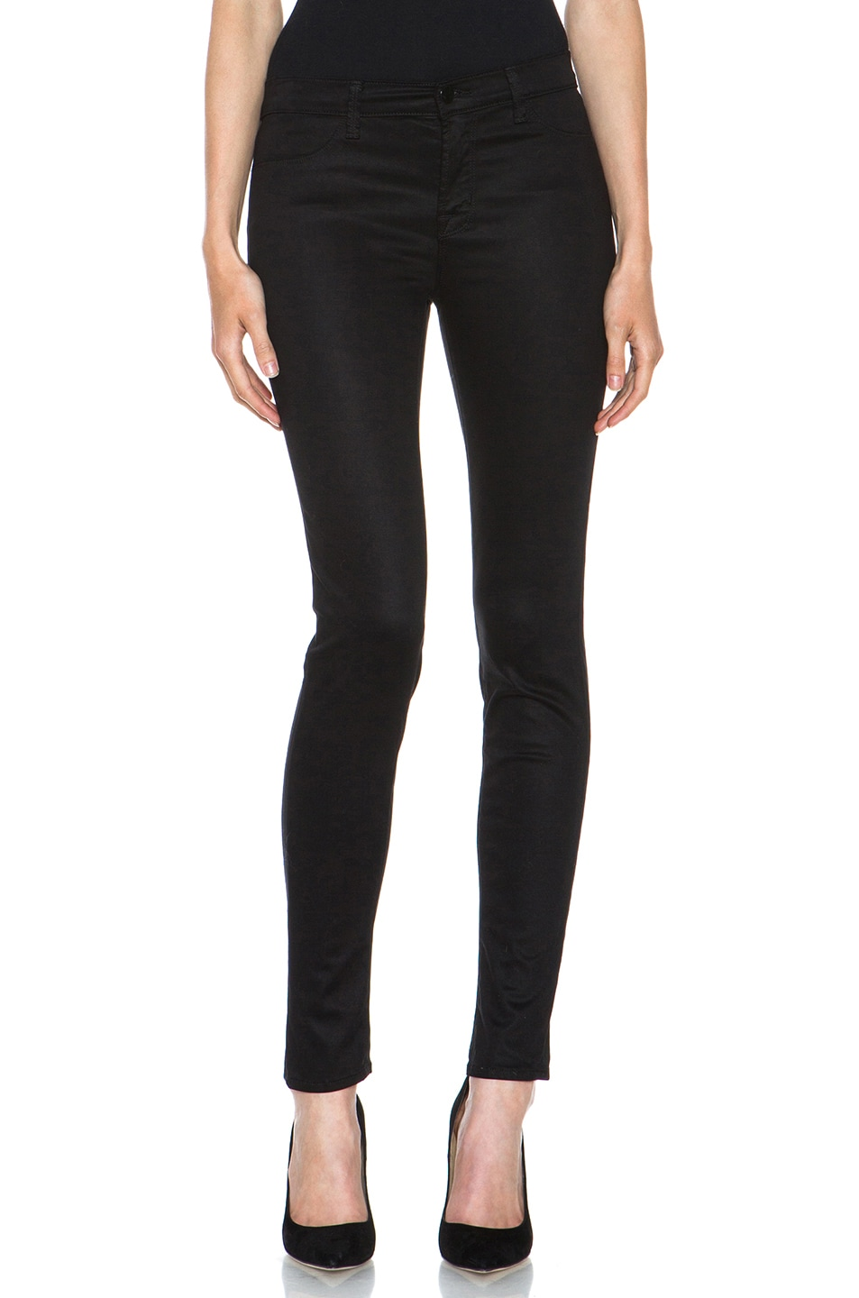 Image 1 of J Brand Mid Rise Skinny in Black High Shine Sateen
