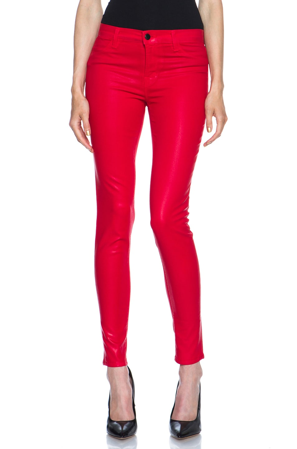 Image 1 of J Brand Mid-Rise Coated Legging in Coated Adra Red