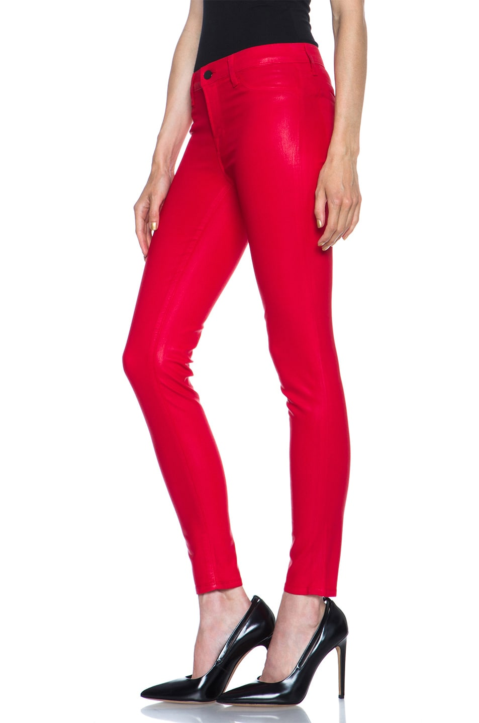Image 2 of J Brand Mid-Rise Coated Legging in Coated Adra Red
