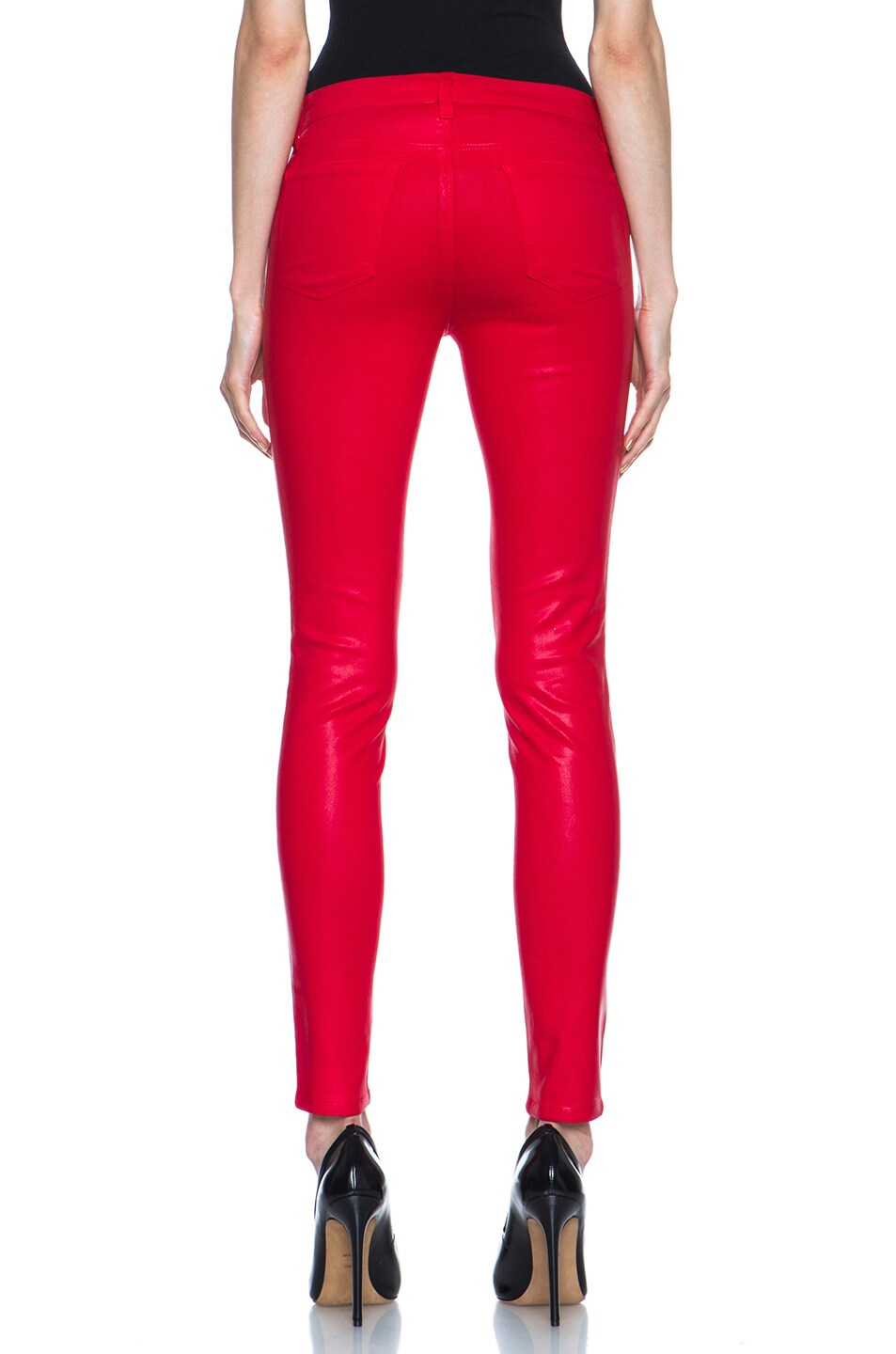 Image 4 of J Brand Mid-Rise Coated Legging in Coated Adra Red