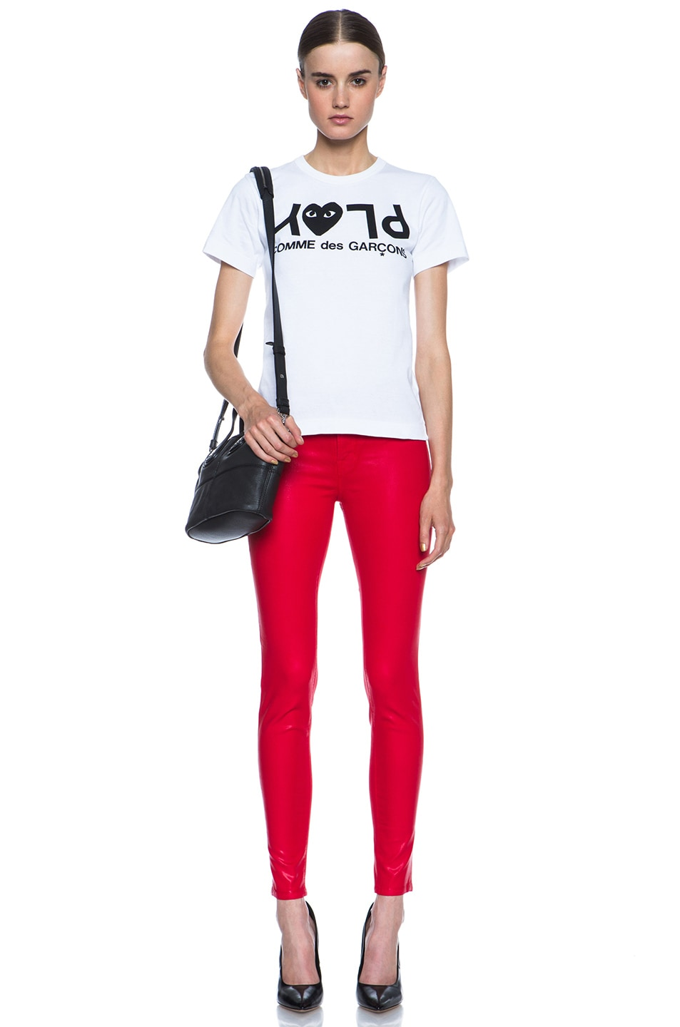 Image 5 of J Brand Mid-Rise Coated Legging in Coated Adra Red