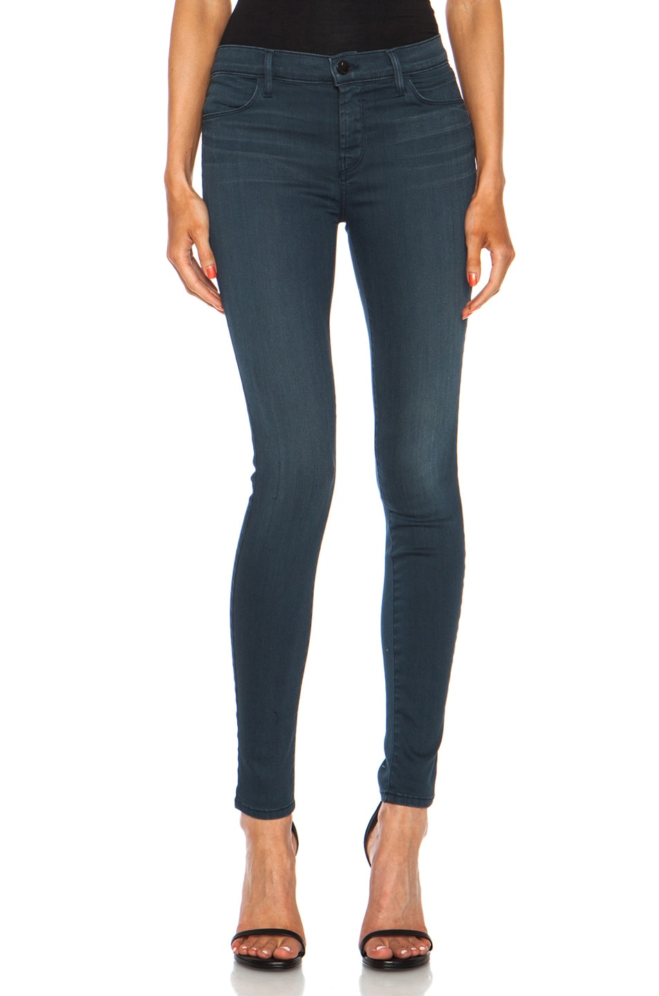 Image 1 of J Brand Mid-Rise Super Skinny in Heaven