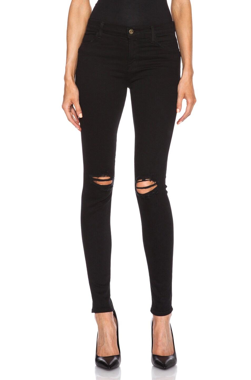 Image 1 of J Brand Super Skinny Distress Knee in Blackout