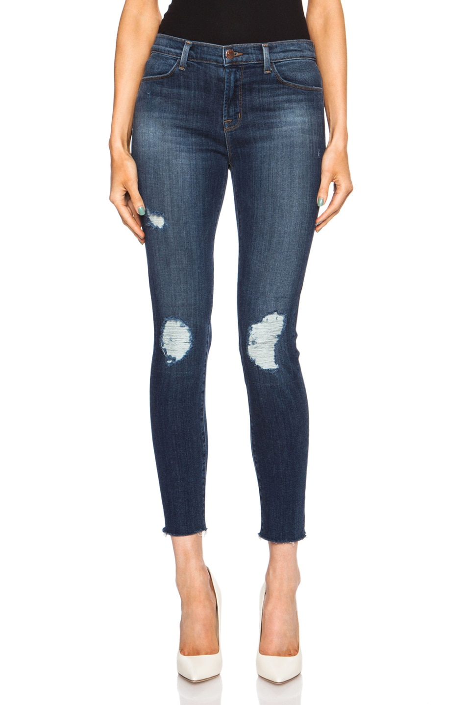 Image 1 of J Brand Cropped Mid Rise Skinny in Trouble Maker