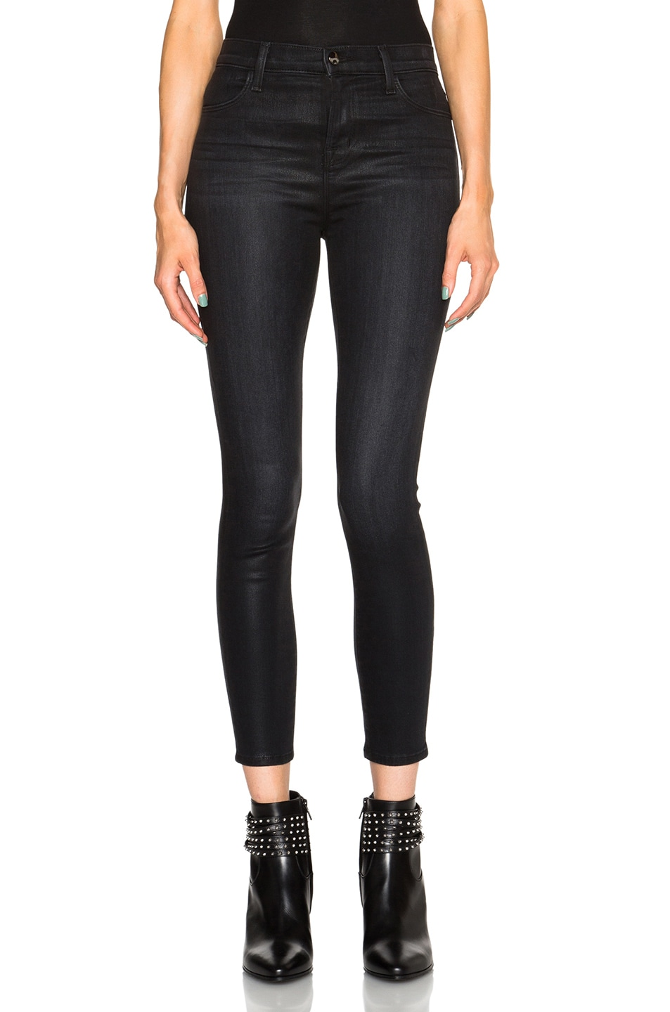 Image 1 of J Brand Coated Alana Crop in Black Elixir
