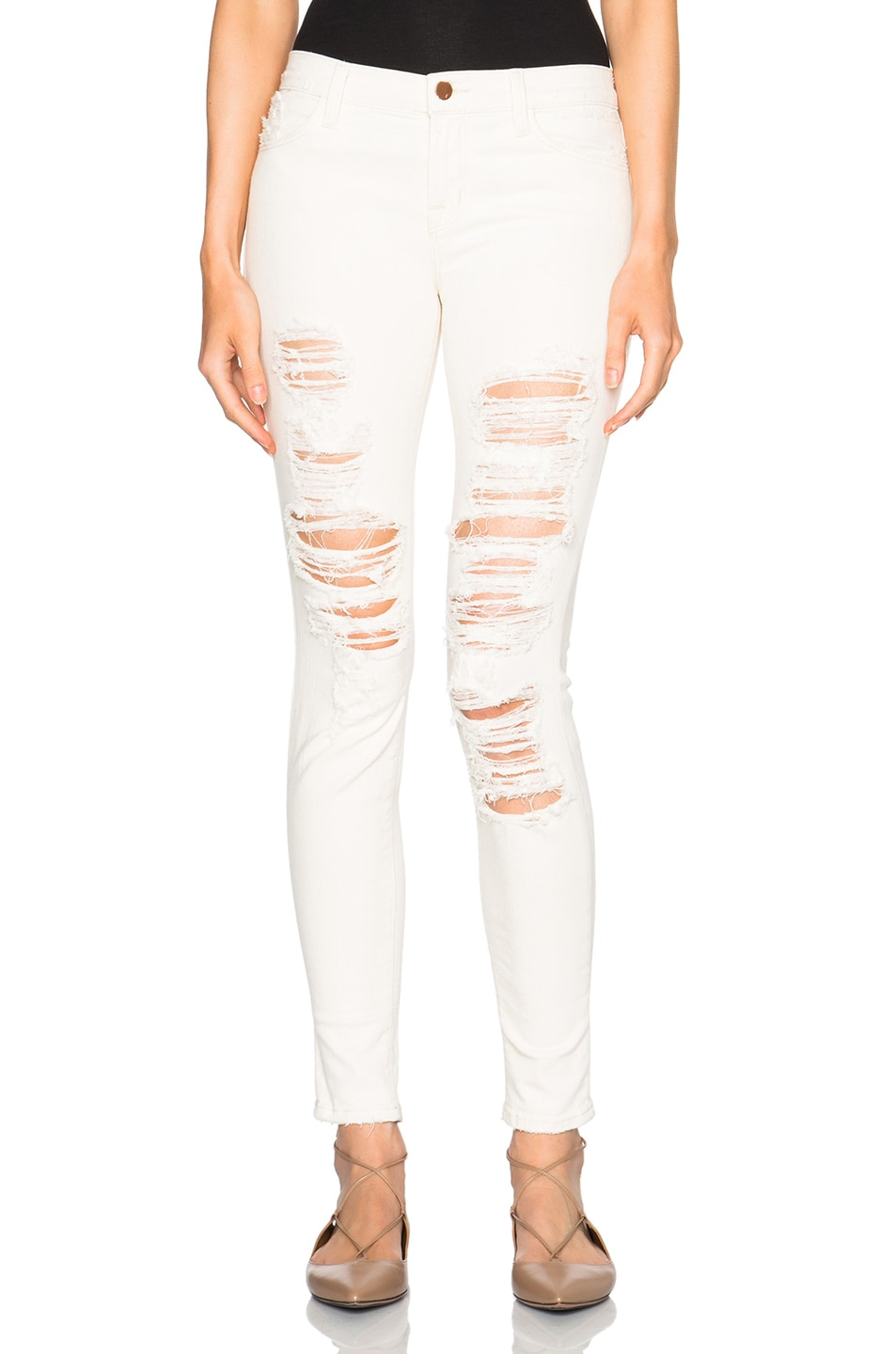 Image 1 of J Brand Ripped Mid Cream in Divo