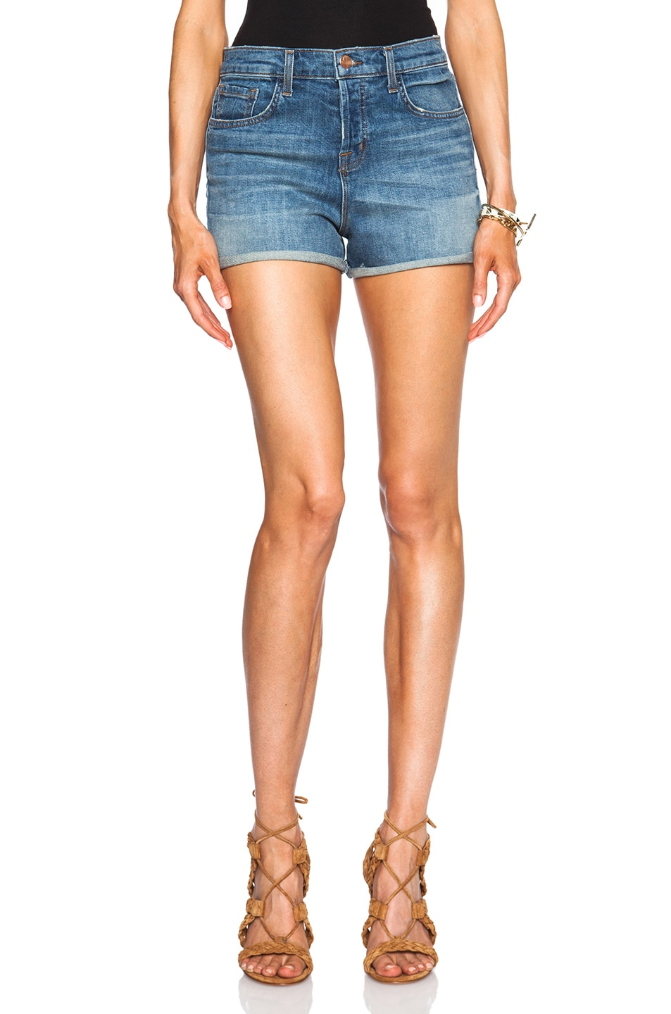 Image 1 of J Brand High Rise Cuff Shorts in Departed