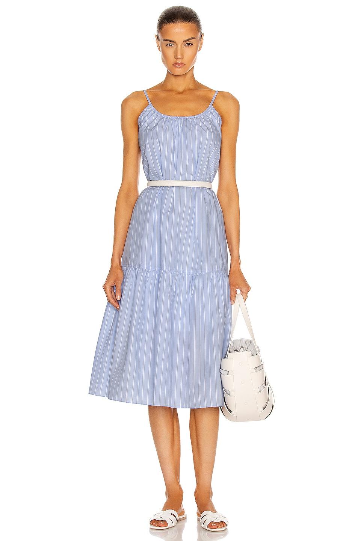 Image 1 of JONATHAN SIMKHAI STANDARD Sierra Gathered Dress in Variegated Blue Stripe