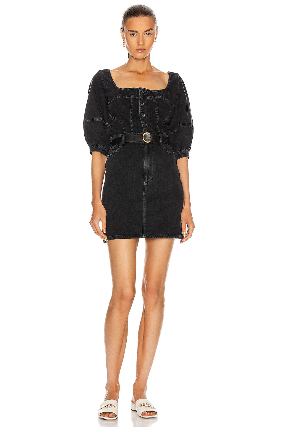 Image 1 of JONATHAN SIMKHAI STANDARD Puff Sleeve Mini Dress in Black