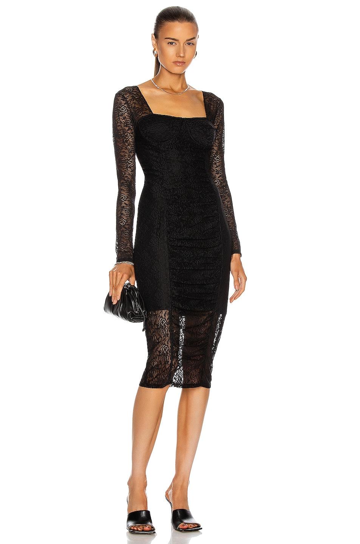 Image 1 of JONATHAN SIMKHAI STANDARD Ruched Long Sleeve Dress in Black