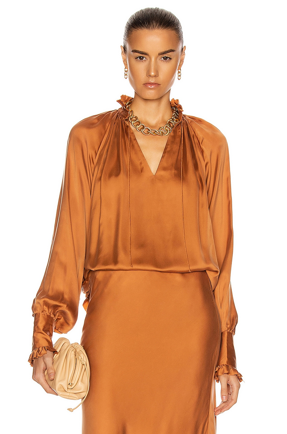 Image 1 of JONATHAN SIMKHAI STANDARD Ruched Front Long Sleeve Top in Toffee