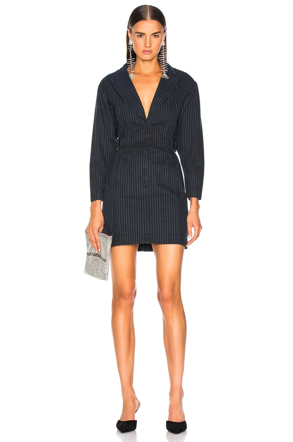 Image 1 of JEAN ATELIER Gia Wrap Dress in Pinstripe