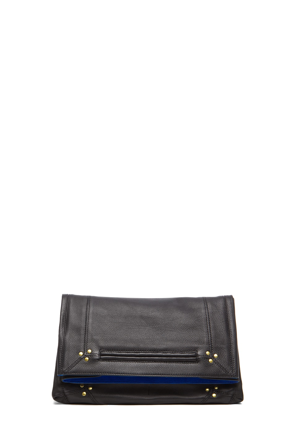 Image 1 of Jerome Dreyfuss Yves Fold Over Clutch in Noir & Gitane