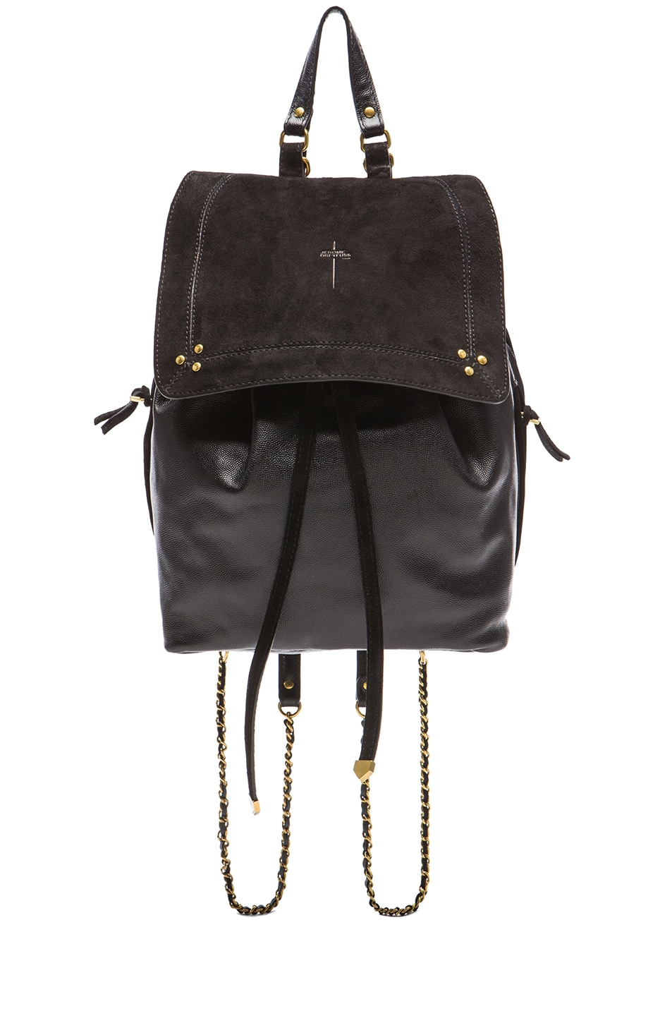 Image 1 of Jerome Dreyfuss Florent Leather & Suede Backpack in Noir Caviar