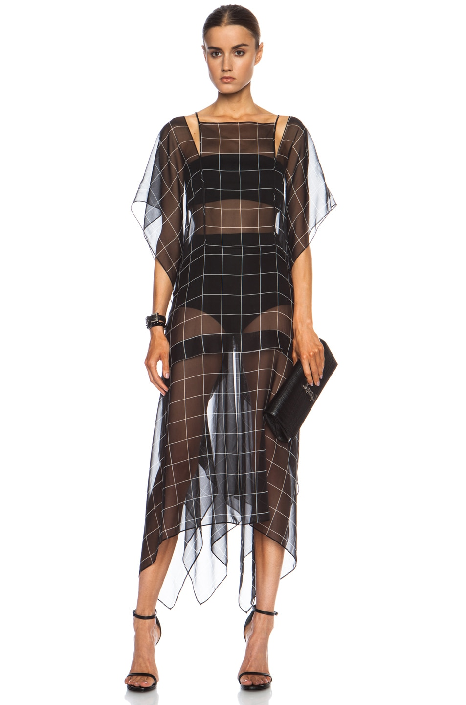 Image 1 of Josh Goot Split Strap Oversize Silk Dress in Black