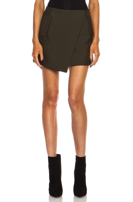 Image 1 of Josh Goot Tuxedo Mini Wrap Wool-Blend Skirt in Khaki & Black