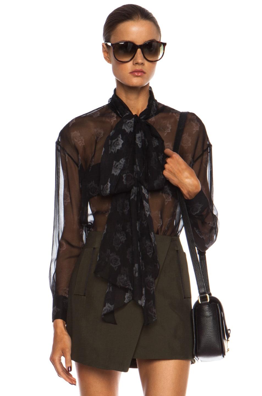 Image 1 of Josh Goot Rose Bow Silk Top in Greyscale
