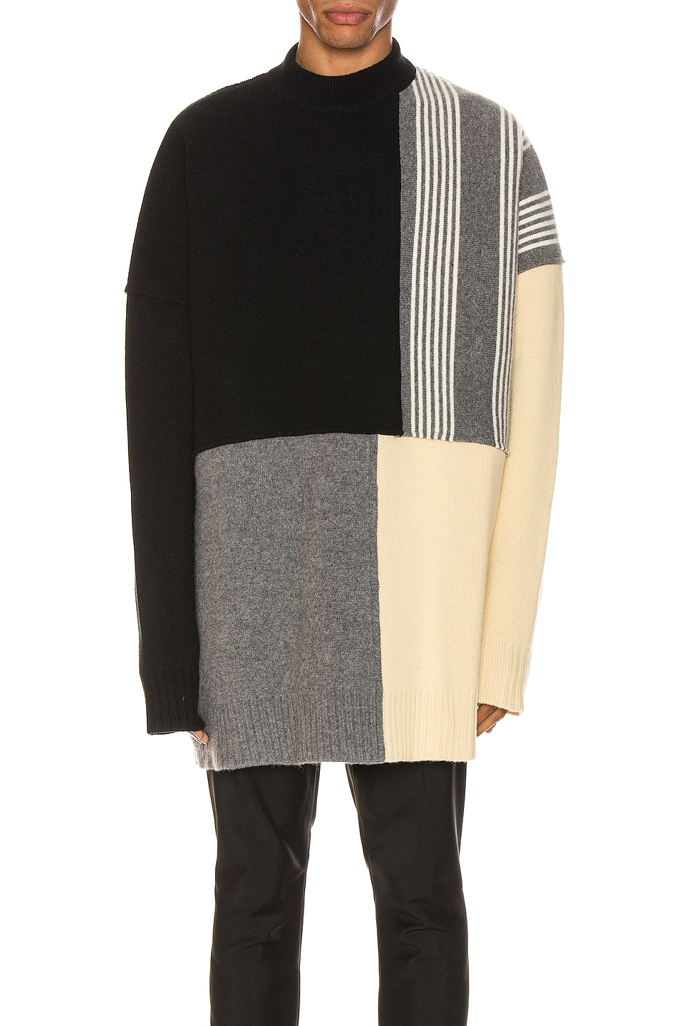 Image 1 of Jil Sander Panels Crewneck Sweater in Open Miscellaneous