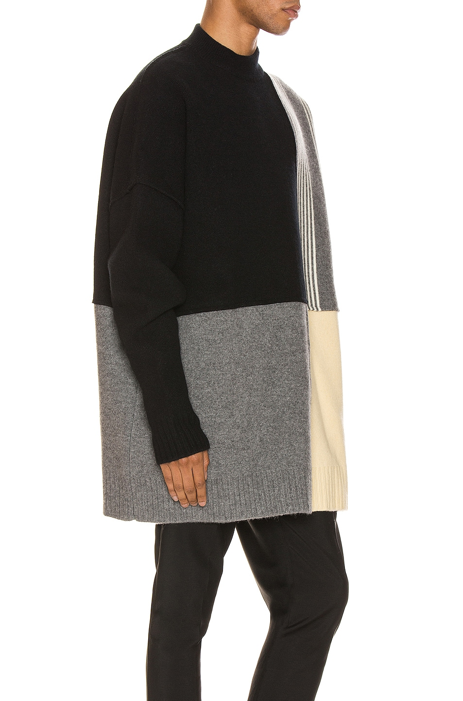 Image 2 of Jil Sander Panels Crewneck Sweater in Open Miscellaneous