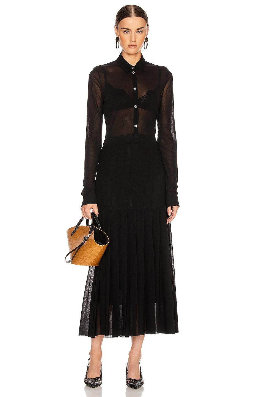 Image 1 of Jil Sander Pleated Long Sleeve Dress in Black