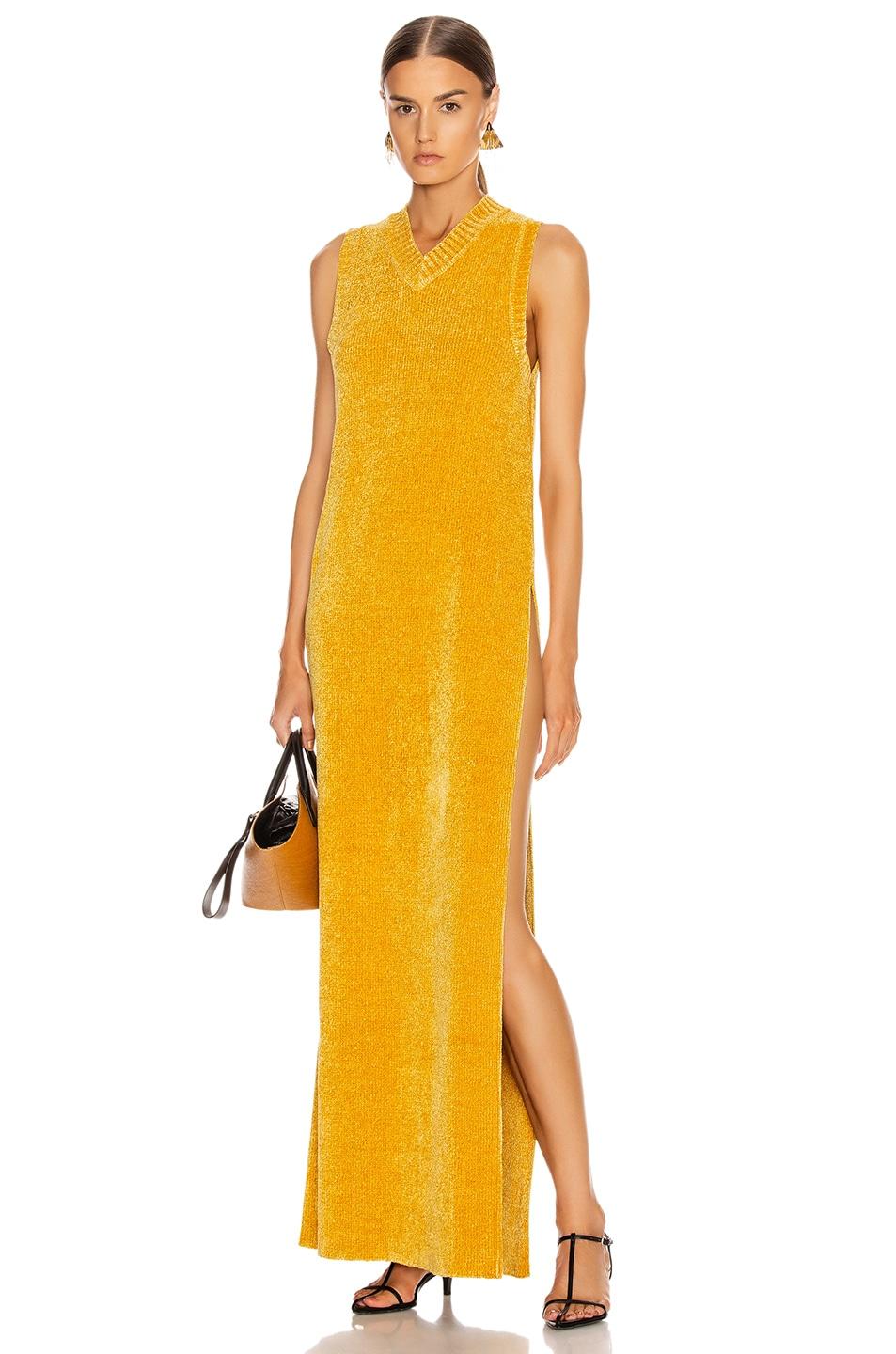 Image 1 of Jil Sander V Neck Long Dress in Gold