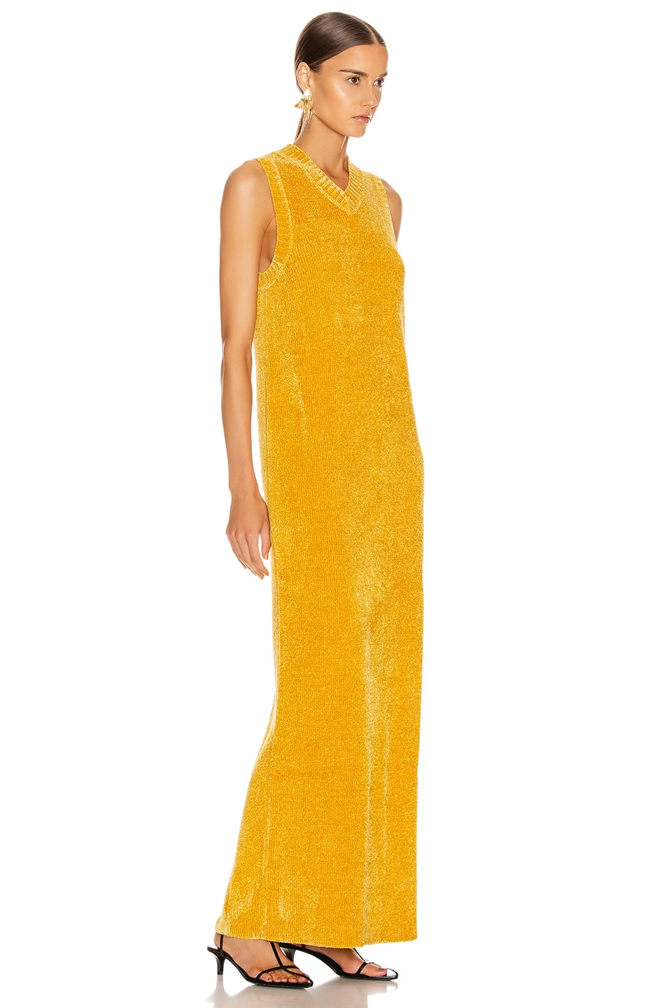 Image 2 of Jil Sander V Neck Long Dress in Gold