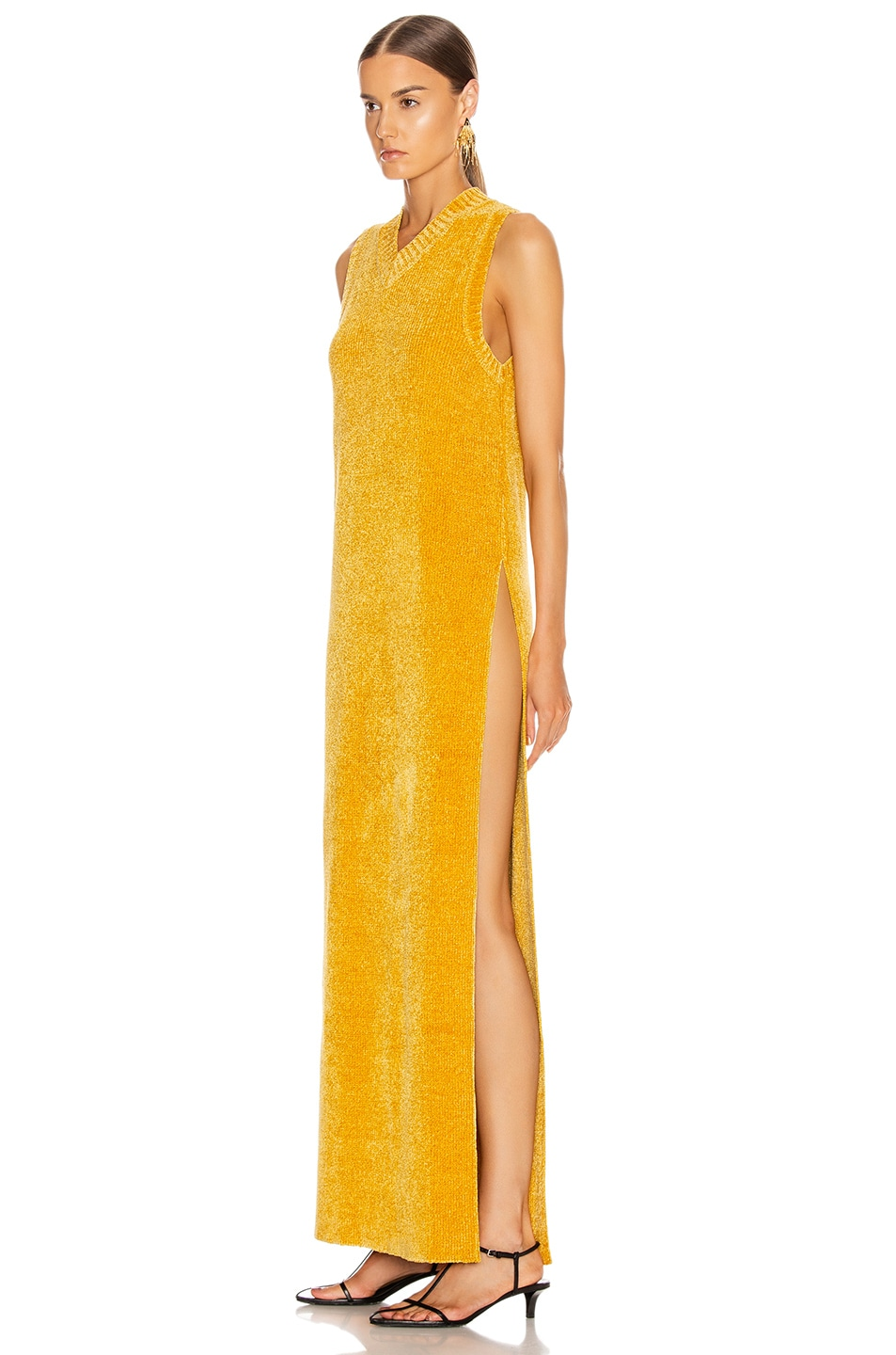 Image 3 of Jil Sander V Neck Long Dress in Gold