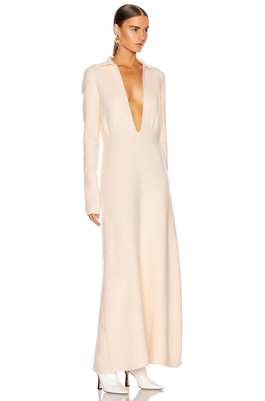 Image 2 of Jil Sander Deep V Long Sleeve Dress in Pearl